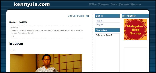 Kenny Sia screenshot, myblogs 2009 malaysian blog survey