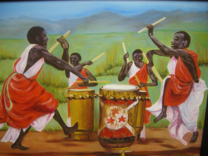 painting of drumming Africans