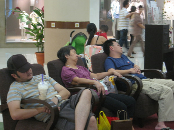 Shoppers sleeping in One Utama shopping mall