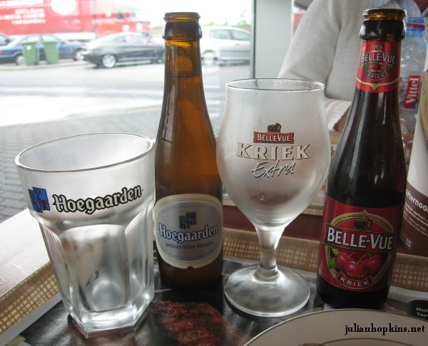 Kriek Belle-Vue and Hoegaarden Blanche with glasses