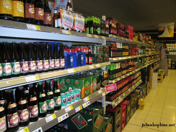 Belgian supermarket choice of beers