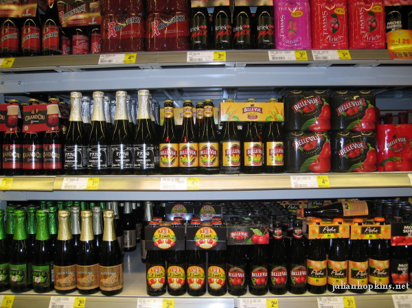 Belgian supermarket choice of fruit beers