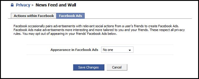 Facebook occasionally pairs advertisements with relevant social actions
