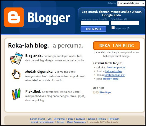 Blogger in Bahasa Malaysia, Malay language