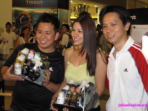 Kenny Sia, Jojo Struys and Adidas person
