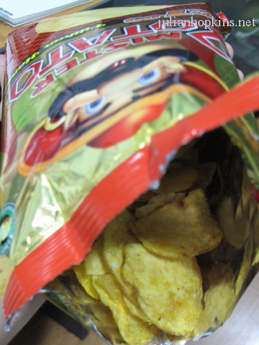 potato crisp open packet