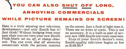 Flash-Matic advertisment text